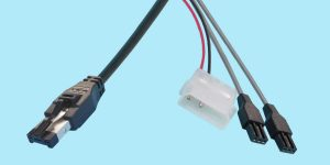 "HSSDC - 3-pin PTP ""Y"" Cable w/ Power Connection"