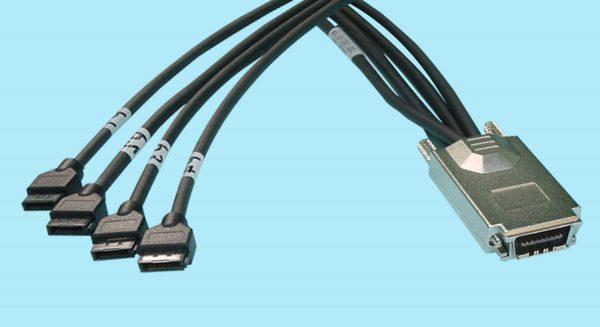 (4) Internal 7-pin Round Shielded SATA to External SAS 4X
