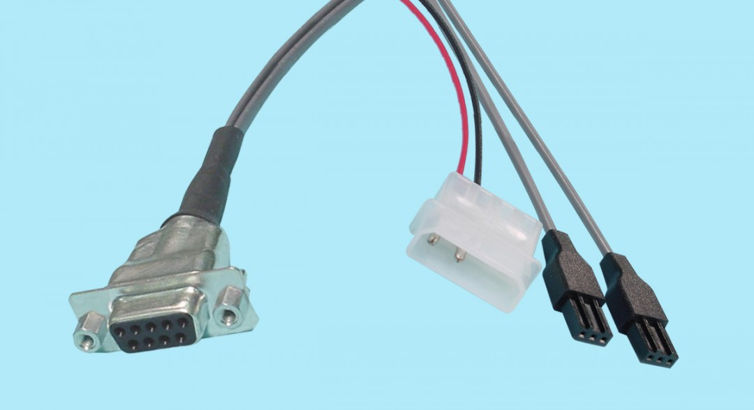 """DB9 Female - 3-pin PTP """"Y"""" Cable w/ Power Connection"""